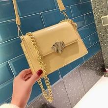 Womens bag fashion lock shoulder diagonal pu leather solid color ladies handbag summer small square