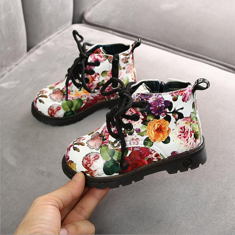 Girls Boots Autumn Winter PU Leather Waterproof Fashion Baby Boots Zip Rome Flower Little Girl Martin Boots Kid Boots Shoes