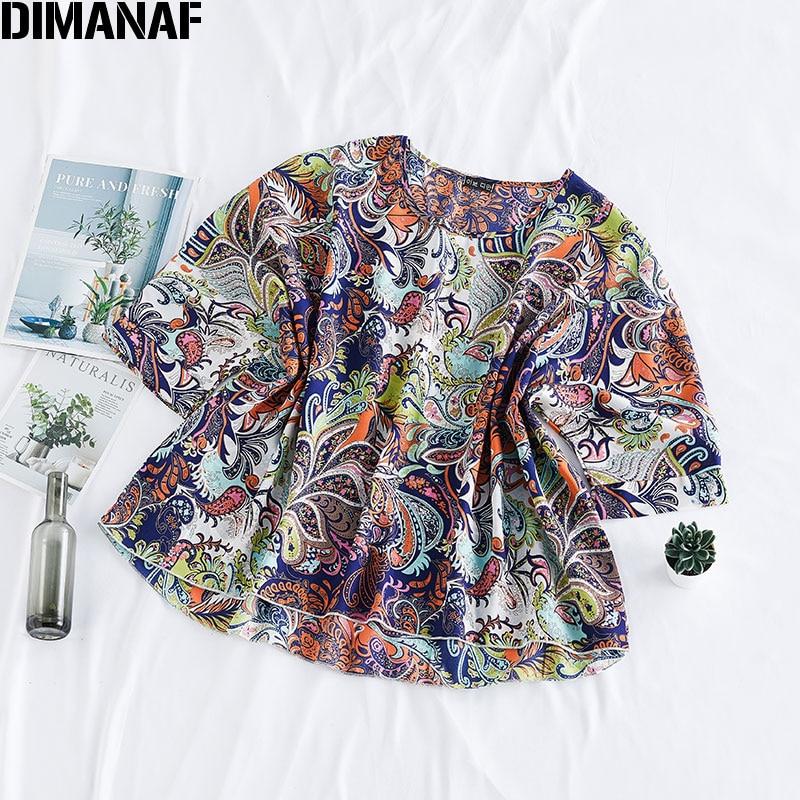 DIMANAF Plus Size Women Blouse Shirt Summer Vinatge Lady Tops Tunic Chiffon Print Thin Oversize Bat Sleeve Female Clothes 2020