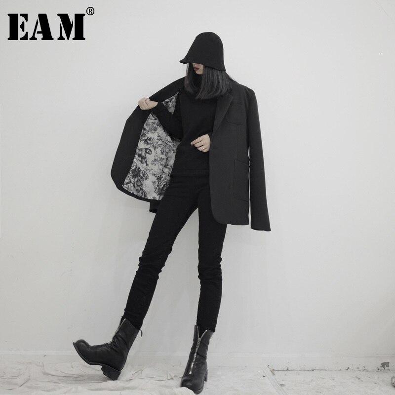 [EAM] Loose Fit Black Split Print Short Jacket New Lapel Long Sleeve Women Coat Fashion Tide Spring Autumn 2020 19A-a558