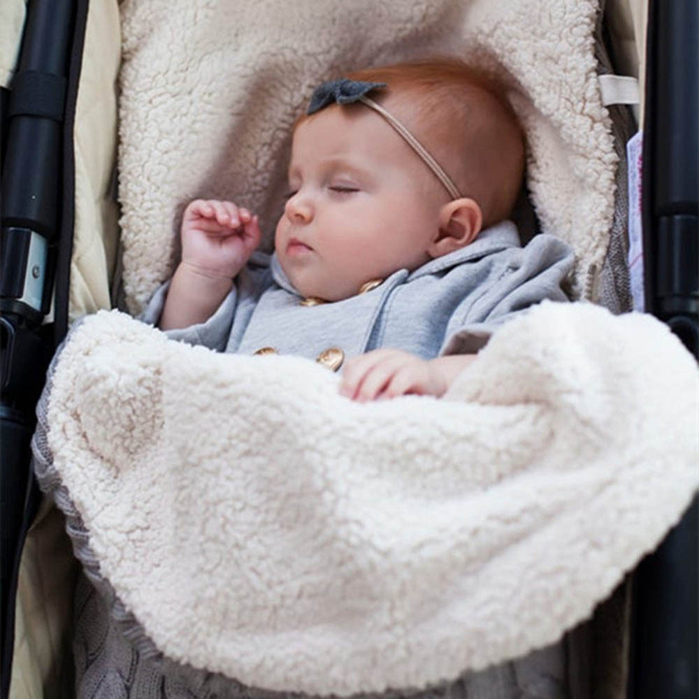 Baby Stroller Sleeping Bag Thickening Plus Velvet Outdoor Wool Knit Cart Warm Bag Wind BagHot Sale In Europe And America