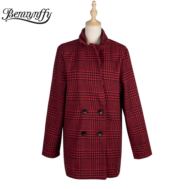 Benuynffy 2020 Autumn Winter Notched Double Breasted Blazer Women Houndstooth Long Sleeve Elegant Office Lady Suit Coat Outwear