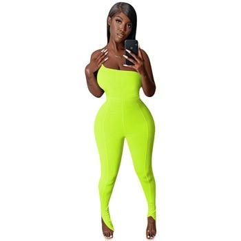 цена на Sexy Fitness One Shoulder Body Rompers Womens Jumpsuit Elegant Sleeveless Split Hem Flare Leggings Bodycon Black Jumpsuit Women