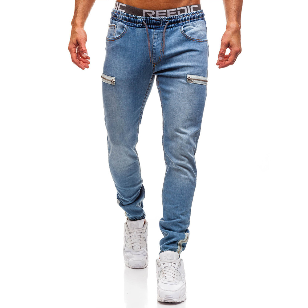 Male Jeans Zipper Drawstring Designer Skinny Motorcycle Denim Pant Hip Hop Black Jeans Man Casual Men's Trousers Men Clothes D25