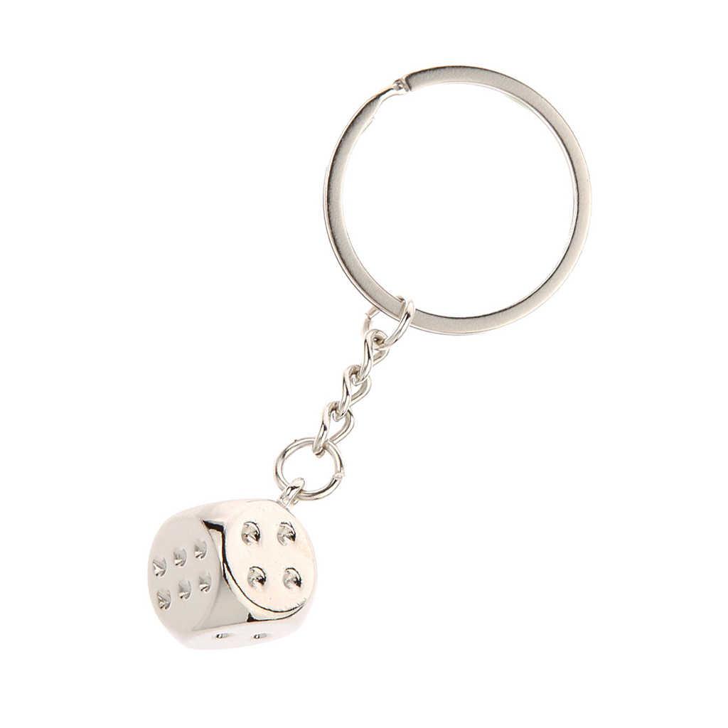 Creativo Dadi per Mahjong Catena Chiave di Keychain Dell'anello Portachiavi Telecomando Regalo Argento