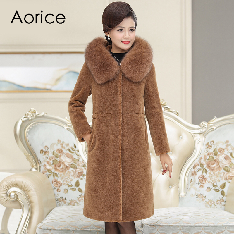 Aorice C306303 women winter classic 100% real wool overcoat warm jacket real fox fur collar girl coat lady Long jacket overcoat image