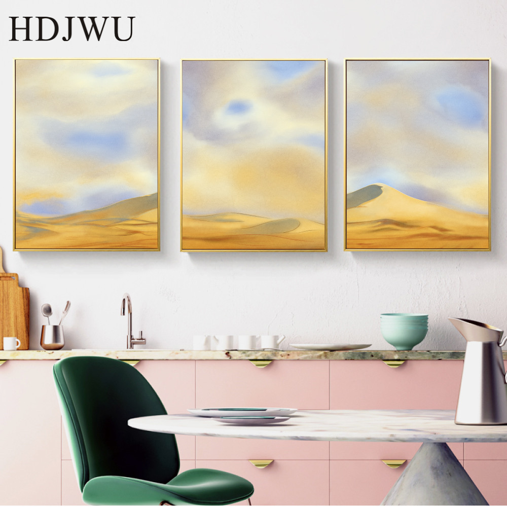 Nordic Canvas Painting Wall Picture Desert Scenery Printing Posters Wall Pictures for Living Room Decor AJ00456 in Painting Calligraphy from Home Garden