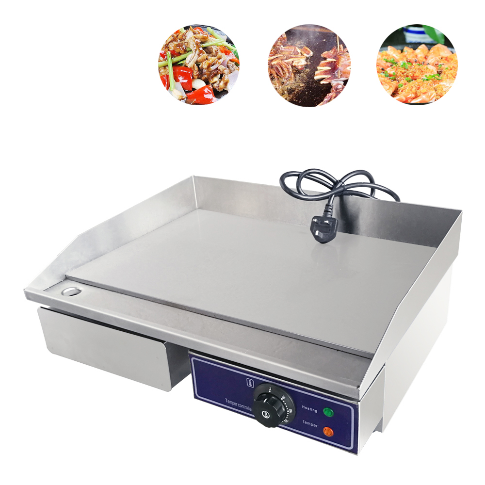 Commercial Electric Griddle Panini Grill HotPlate Kitchen CounterTop Stainless Steel Temperature Control Teppanyaki BBQ Grill