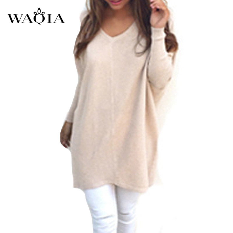 2019 Spring Autumn Cashmere Sweaters Fashion Sexy V-neck  Long Sleeve Sweater Female Loose Casual Knitted Pullover Plus Size