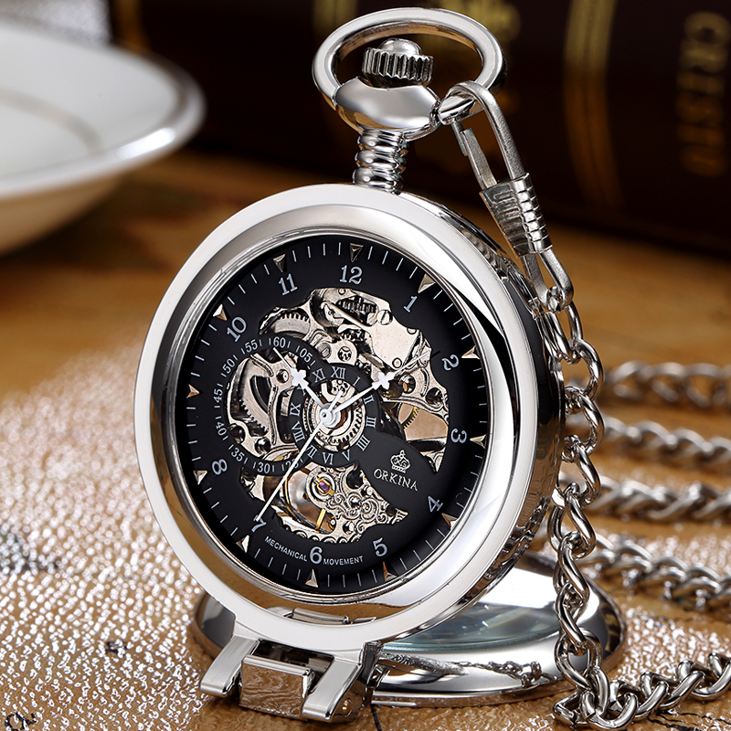 Fob Chain Watches Mechanical Skeleton Stainless-Steel Gorben Dial-Silver Fashion Hand-Wind