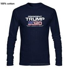 100% algodão o pescoço personalizado impresso camisa masculina presidente trump 2020 manter américa camiseta