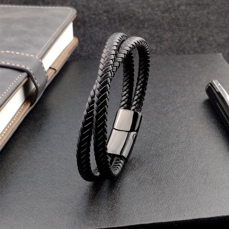 Bracelet en cuir tressé noir/marron/bleu/café, breloque Punk, nom personnalisé, gravé en acier inoxydable pour hommes et femmes, bijoux 2