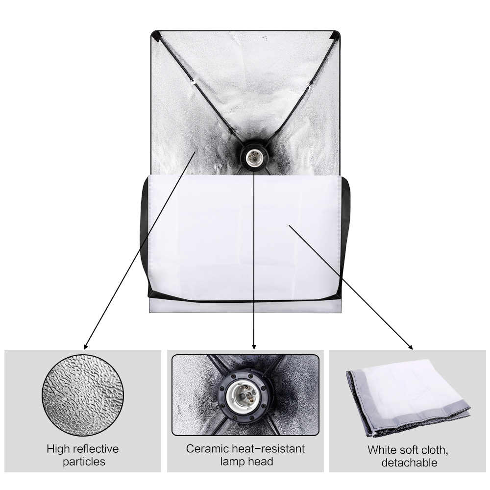 Photographie Photo Studio Softbox Kit d'éclairage avec 2.6x3M cadre de fond 3 pièces décors trépied support réflecteur conseil parapluie