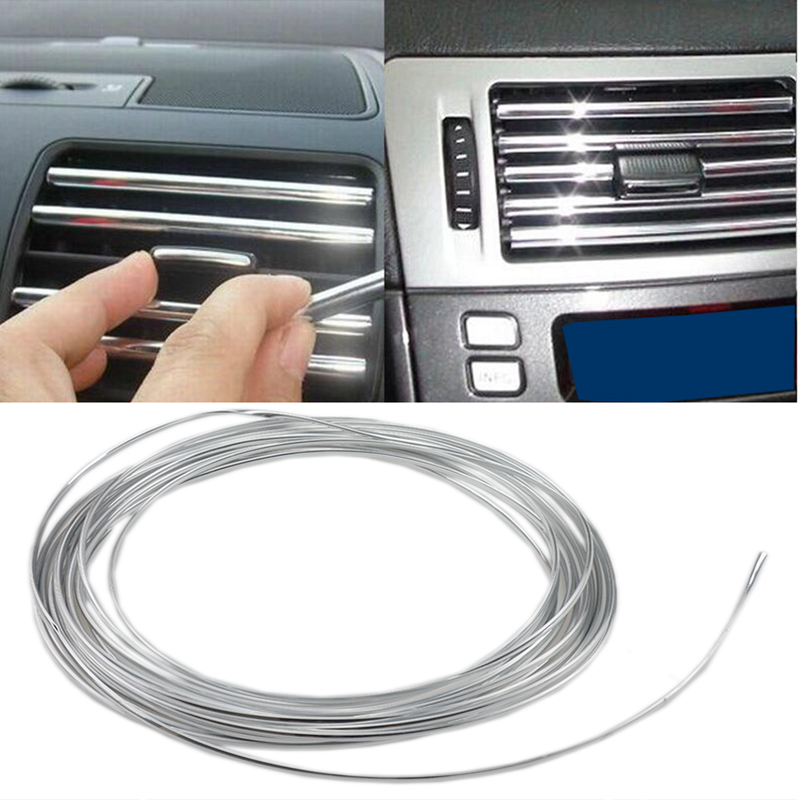 8m U Shape DIY Car-styling Interior Air Vent Grille Switch Rim Trim Outlet Decoration Strip Moulding Chrome Silver Free shipping
