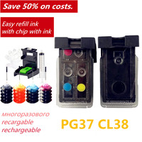 PG37 CL38 Nachfüllbare Tinten Patronen Kompatibel für Canon PIXMA MP140 MP190 MP210 MP220 MP420 IP1800 IP2600 MX300 MX310 Drucker-in Tintenpatronen aus Computer und Büro bei