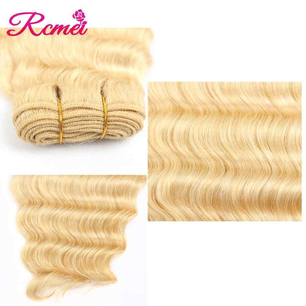 Miód 613 blond głęboka fala wiązki z przednim zamknięciem brazylijski blond 3 zestawy z 13x4 Frontal wstępnie oskubane Remy włosy