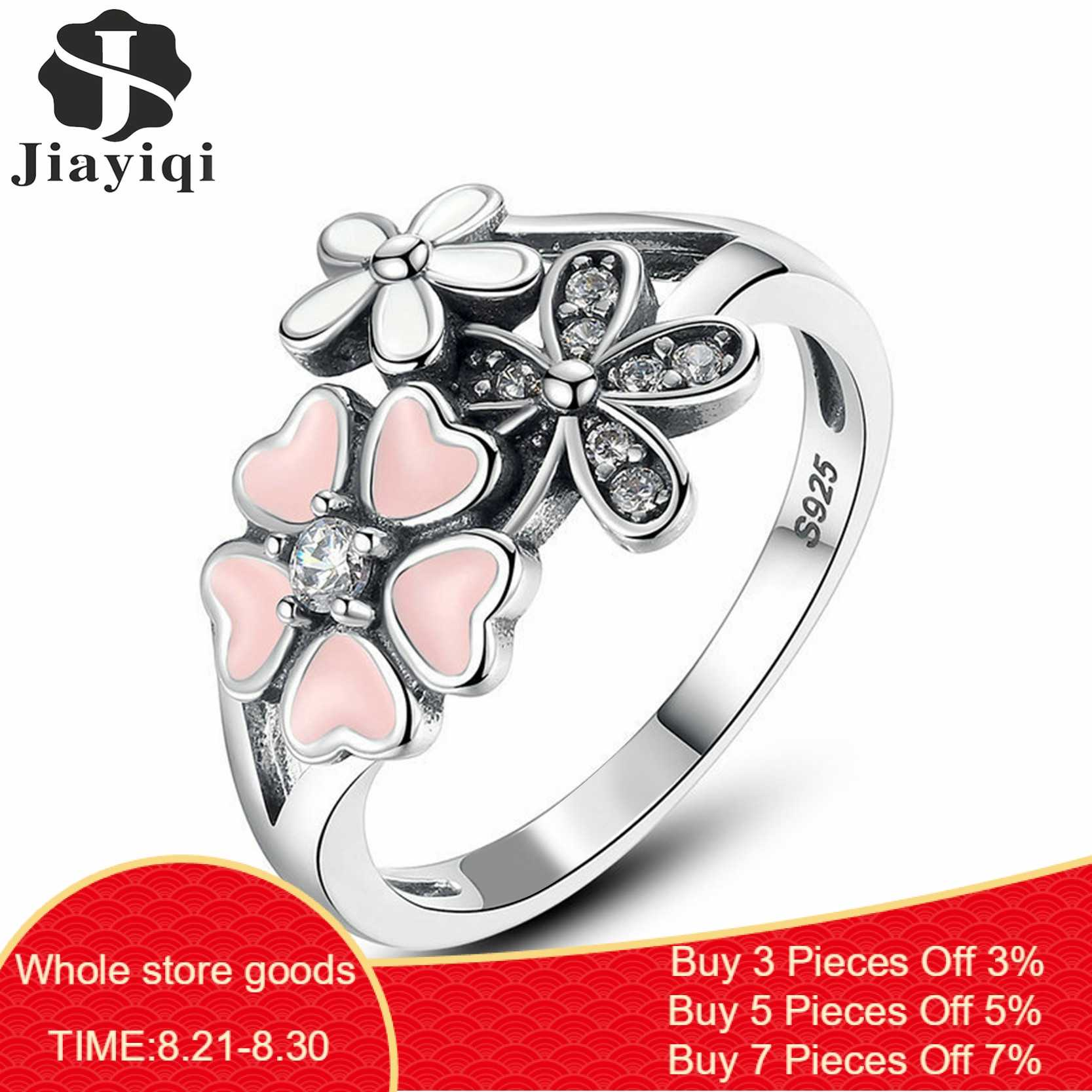 Jiayiqi Hot Sale Fashion Delicate Flower Finger Ring Silver Color Zirconia CZ Jewelry For Valentine's Day Christmas Gift 2018