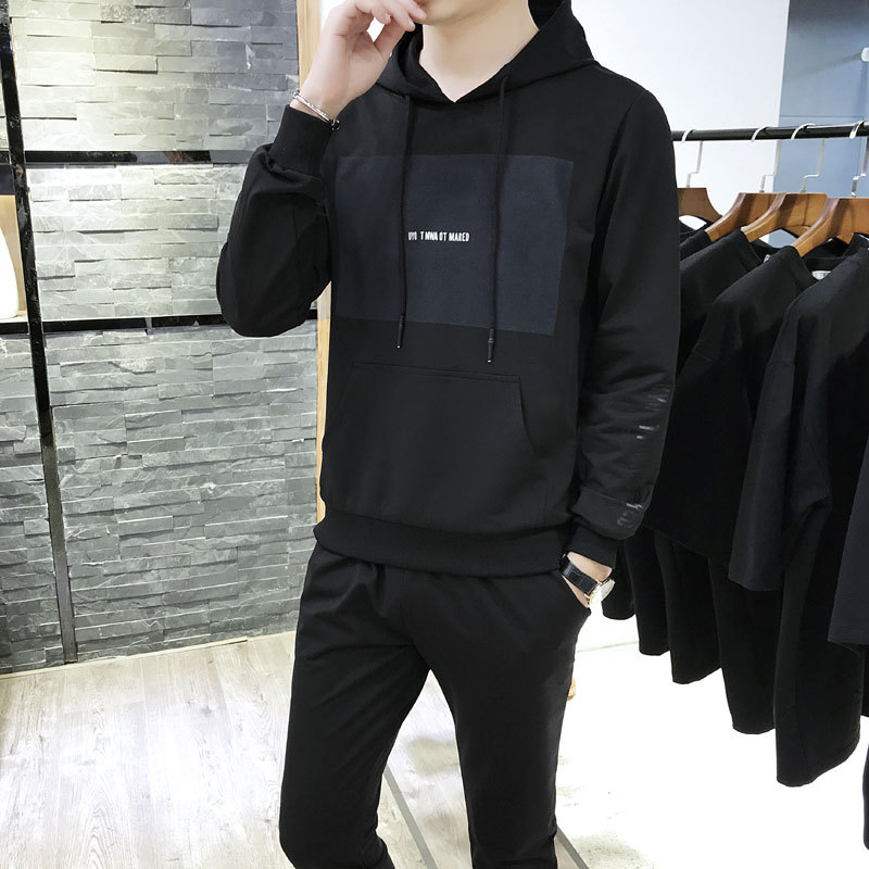 Autumn MEN'S Suit New Style MEN'S Sportswear Korean-style Slim Fit Youth Stand Collar Men Casual Jacket Pants Fashion