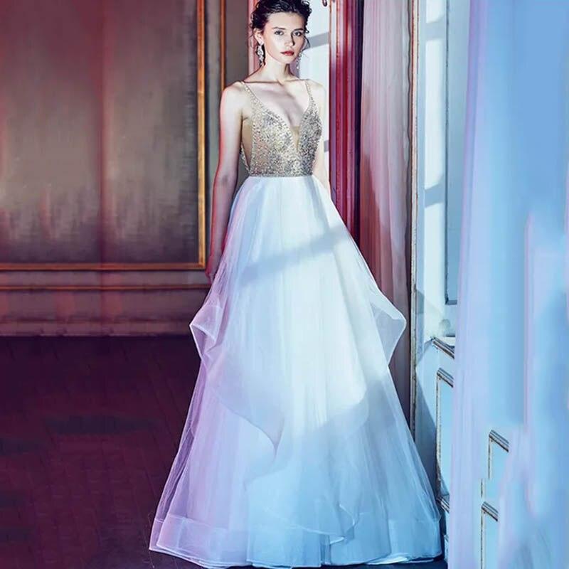 Eightree A-line Wedding Dress Backless Sleeveless Bride Gowns V Neck Tiered Bridal Bling Wedding Dress Vestido De Novia Tulle