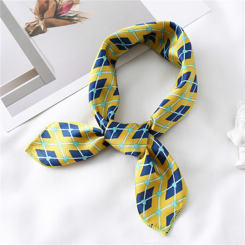 Women Silk Scarfs Foulard Small Neck Scarf Designer Print Lady Office Neckerchief Headband Femme Hand Scarves 2020 New