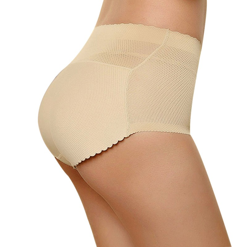 Women Sponge Padded Abundant Buttocks Lady Push Up Middle Waist Padded Panties Briefs Underwear