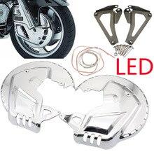 غطاء دوار قرص الفرامل الأمامي من الكروم للدراجات النارية ، مع مصباح LED لهوندا GL1800 ، Goldwing GL 1800 ، 2001 2014 ، F6B 2013 2015