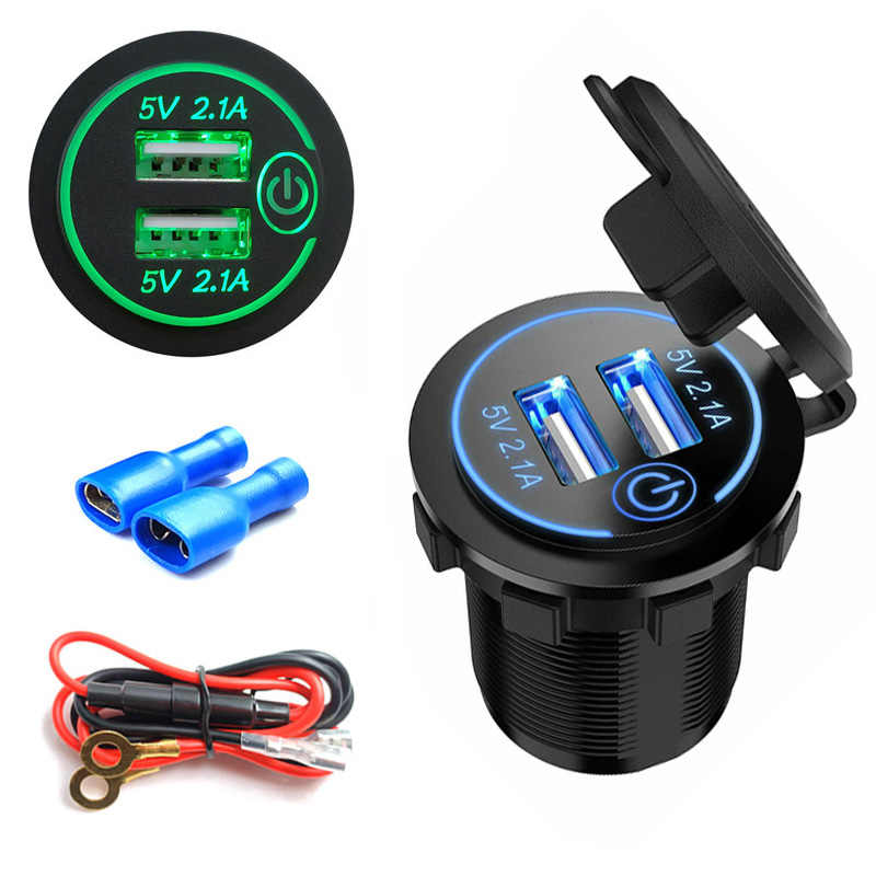 12 V/24 V Dual USB Charger Adaptor Soket LED Display dengan Penutup Debu Power Socket Charger Mobil