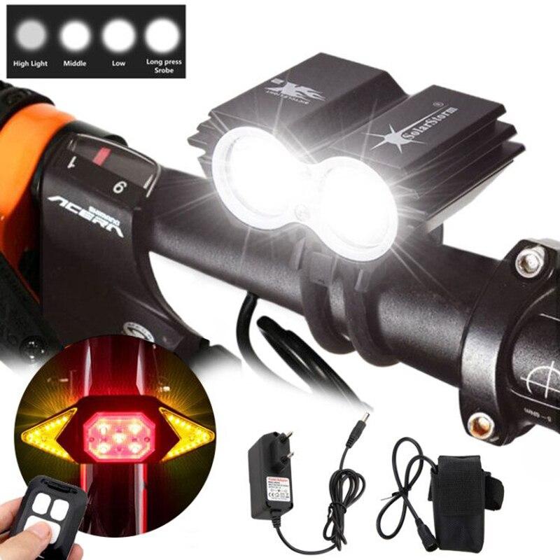 SolarStorm aluminium 6000Lm 2x XM-L T6 LED avant vélo lampe vélo phare + 4x18650 batterie Pack + chargeur + USB feu arrière