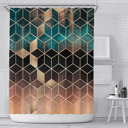 200x180cm 3D geometric marble printing bathroom shower curtain polyester waterproof home decoration bathroom curtain with hook