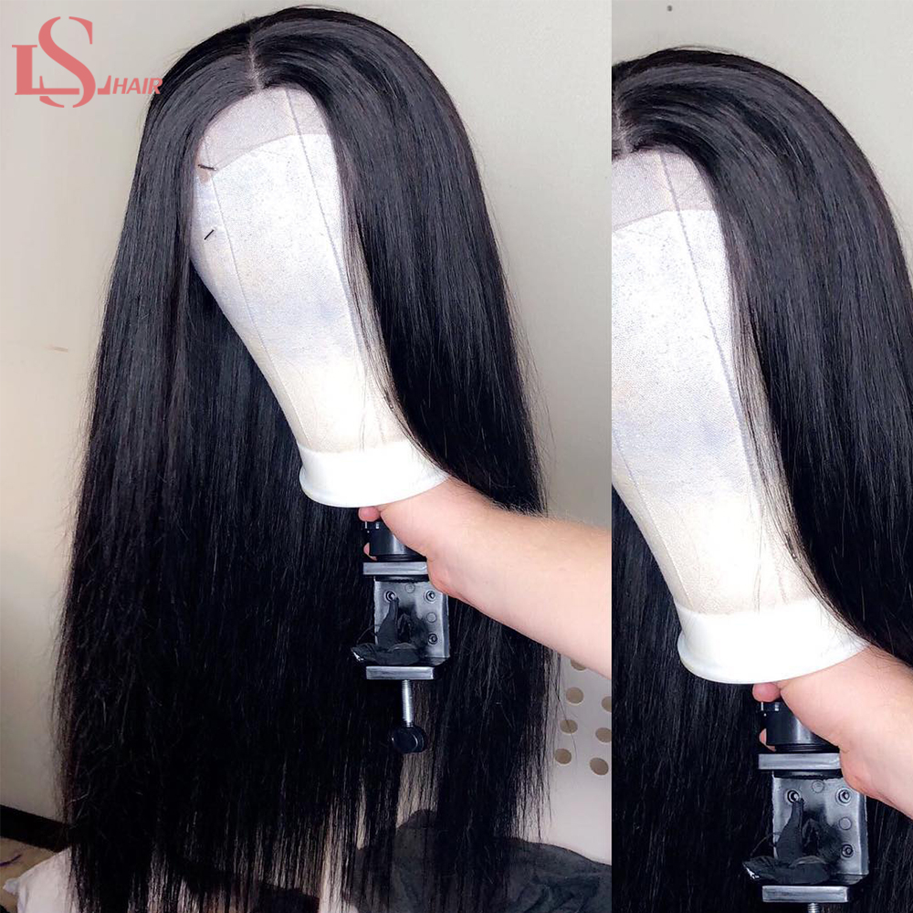 LS Straight Hair Lace Front Human Hair Wigs For Women Pre Plucked Brazilian Remy Hair Wig 13*4 Bleached Knots Baby Hair