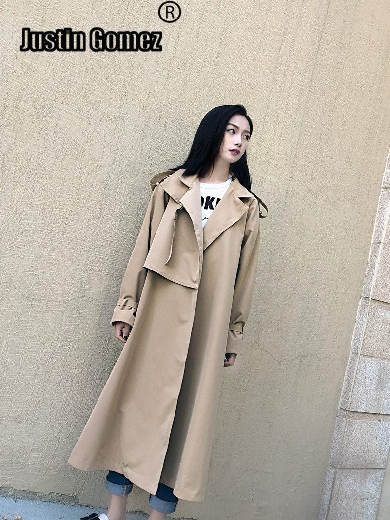 new 2019 Casual oose ladies Long   Trench   Coat for women Plus size Comfortable khaki Female outerwear