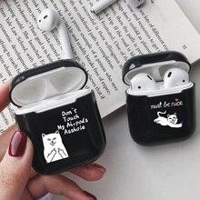 цена на Cartoon Black Case for AirPods Cute Cover Hard Plastic Bluetooth Earphone Protective Case for Apple Airpods 1/2 Case Despise Cat