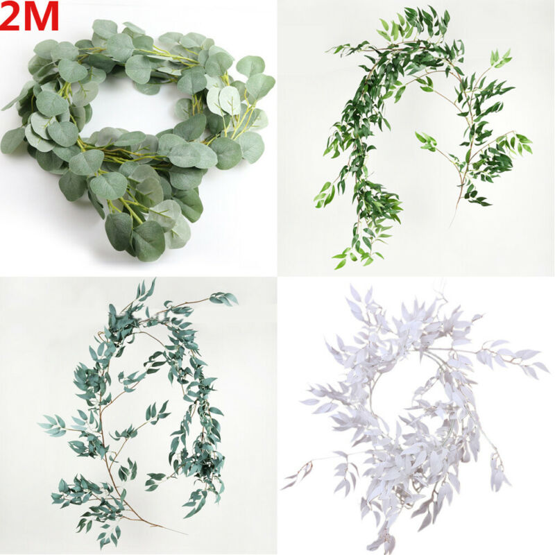 Artificial Fake Eucalyptus Garland Willow Green Long Leaf Plants Greenery Foliage Home Garden Party Decoration