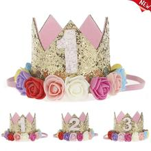 1pc Happy First Birthday Party Hats Decor Cap One Birthday Hat Princess Crown 1st 2nd 3rd Year For Pets Dogs Cats Hairband Hot