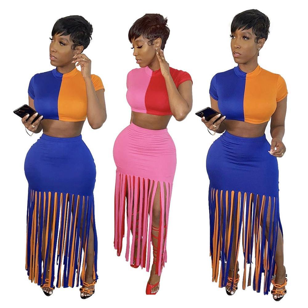2 Piece Skirt Set Women Two Piece Set Summer Clothes For Women Crop Top Skirt Two Pieces Sets Summer Female