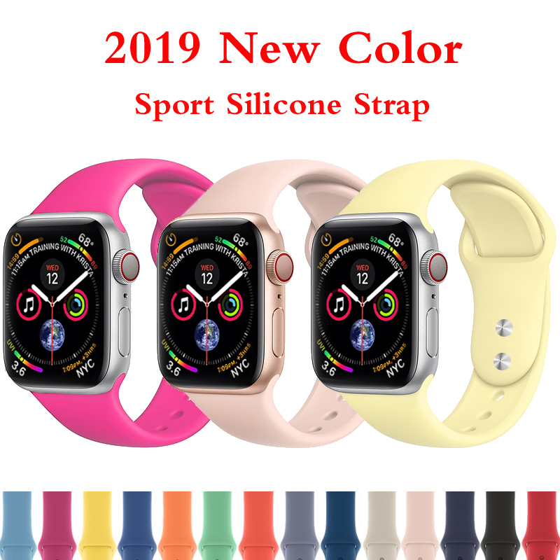 Sport silicone strap for Apple watch 4 band 44mm 40mm bracelet belt iwatch 4 3 2 1 band correa 42mm 38mm wrist watch accessories цвета apple watch 4