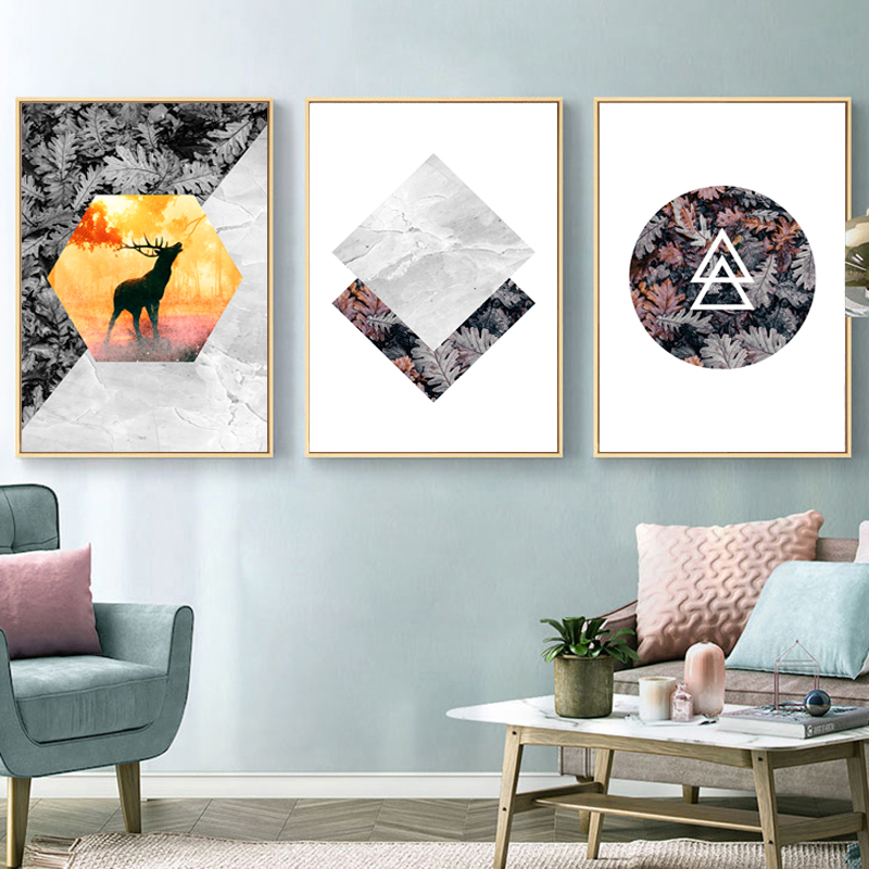 YuKe Art Grey Elk 3 Pieces Marble Abstract Canvas Painting Wall Art Poster and Print Picture Decorative Painting Living Room