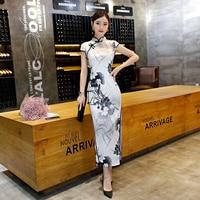 Long Silk Cheongsam Wedding Qipao Dresses Chinese Traditional Dress Robe Chinoise Flowern Qi Pao Vestido Oriental Evening Gown
