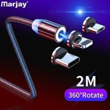 Marjay Магнитный кабель Micro usb type C кабель для iPhone samsung Android Быстрая зарядка магнит зарядное устройство мобильный телефон USB провод шнур