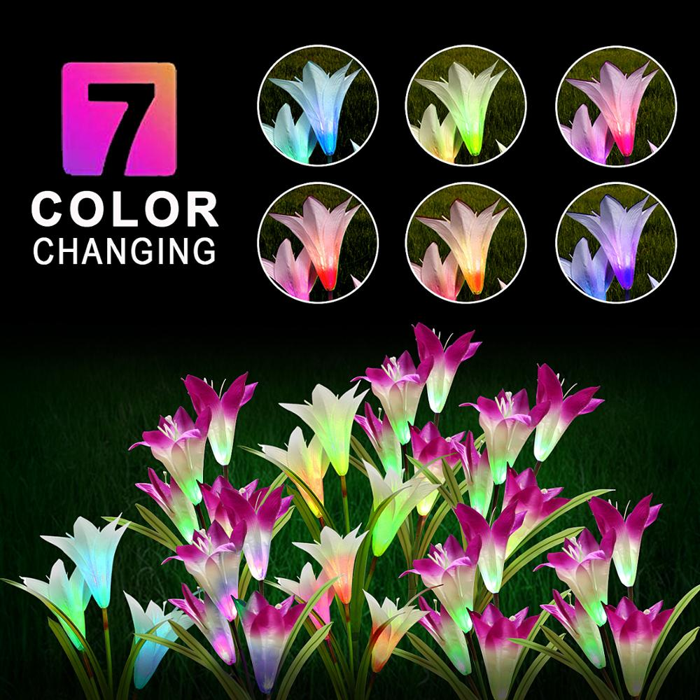 lowest price Solar Power Garden Light Outdoor Waterproof 7Color Change Lighting White Purple Flower Led Fairy Light Lawn Lamp Christmas Decor
