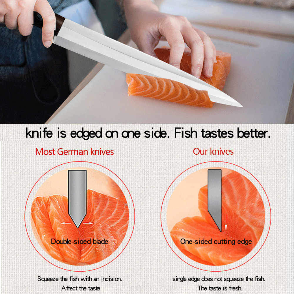 Japoński Sashimi nóż 8 Cal ultra-cienki fileting noże łosoś Sushi surowe ryby nóż do krojenia noże kuchenne ze stali nierdzewnej