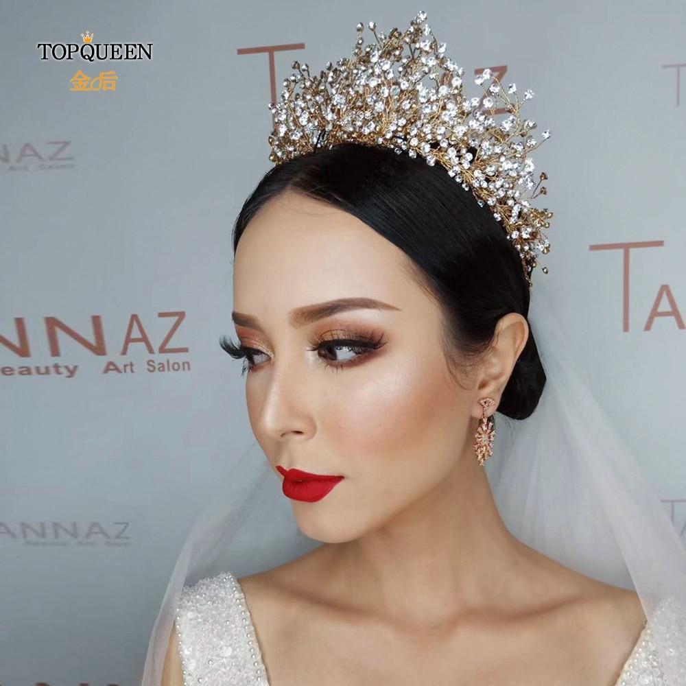 TOPQUEEN HP193-G Golden Wedding Tiaras And Crowns Rhinestone Wedding Headband Luxury Wedding Headpieces Briadl Hair Jewelry