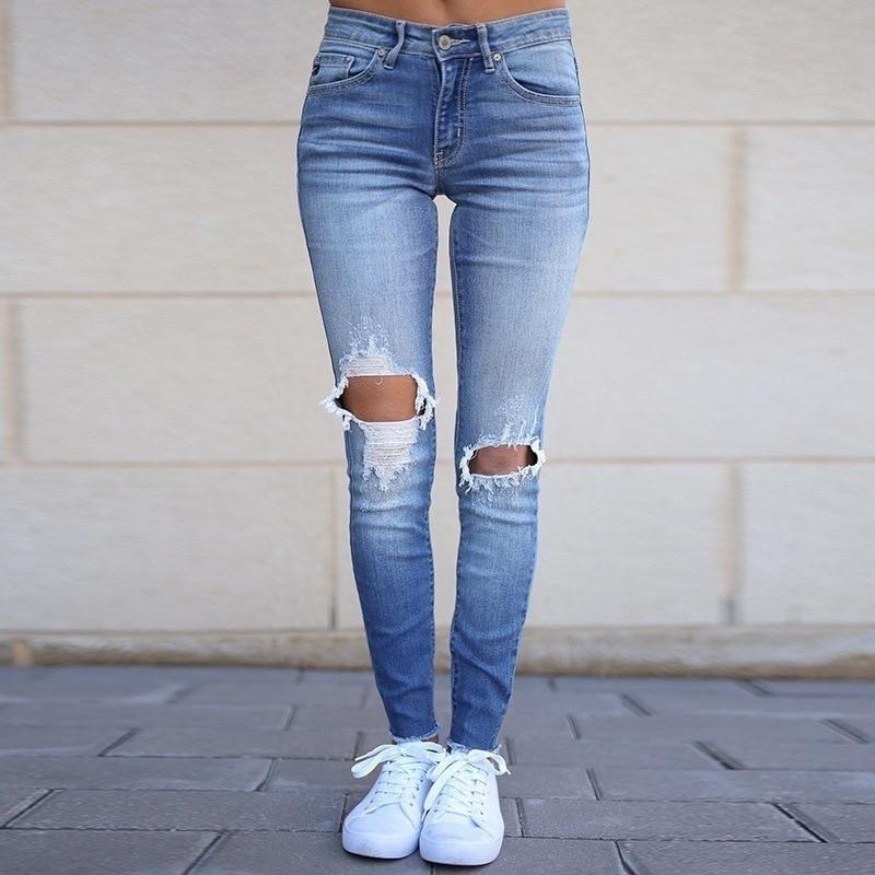 Sexy Spring Women High Waist Jeans Female Plus Size Women Jeans Light Wash Casual Slim Pencil Pants