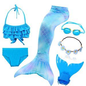 Image 2 - Nuovi bambini la coda di sirenetta con ghirlanda può aggiungere Costume da bagno a sirena Monofin Costume da bagno Bikini Costume da bagno nuotabile