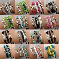 Wholesale 100pcs women bracelet different Styles pu leather Handmade Fashion Cuff Bracelets bangle wristband gifts dropshipping