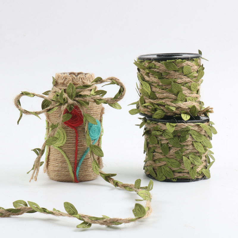 10M Simulation Green Leaves Weaving Hemp Rope DIY Wedding Birthday Wedding Decoration Rattan Gift Bouquet Packaging Rope 5mm