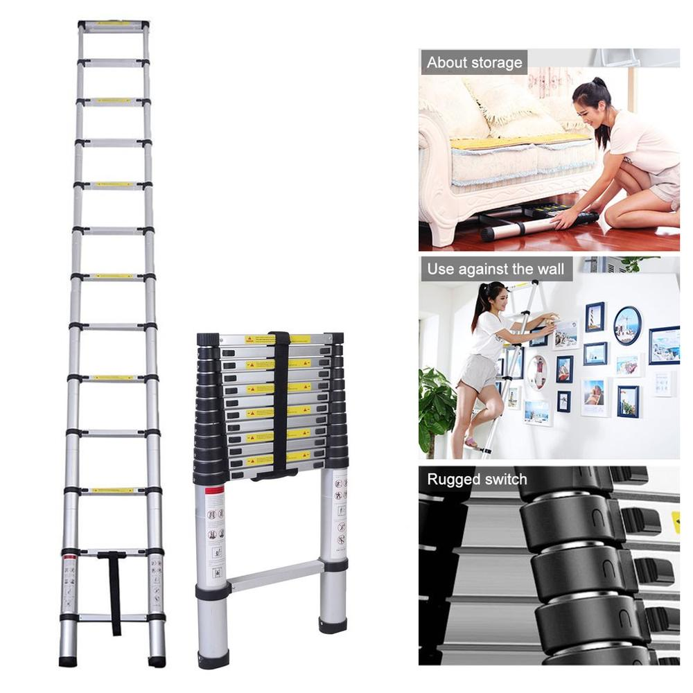 New FR 12.5FT 3.8M Excellent Quality Folding Climb Aluminum Telescopic Step Ladder Multi Purpose Non Slip Step Ladder