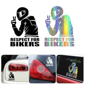 15x11CM Car Stickers Respect For Bikers Sticker On Auto Vinyl Funny 3D Car Stickers And Decals Motorcycle Car Style Decoration for california car truck sticker decals art painting wall stickers vinyl decals car stickers