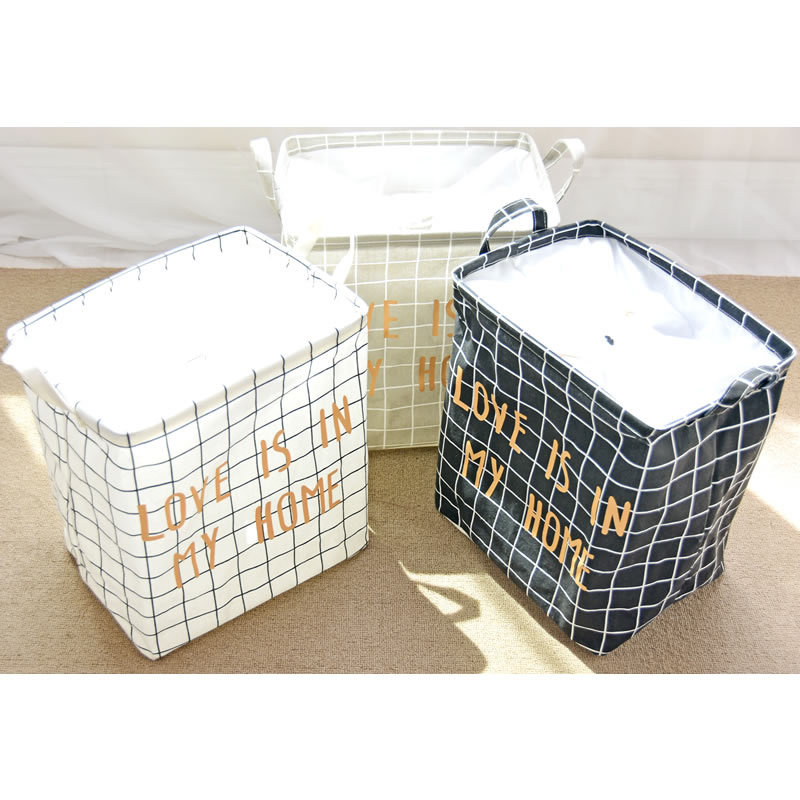 Plaid Scrunch Top Storage Box Floor Sundry Basket Toy Storage Basket Snacks Basket Cotton Linen zang yi tong 0856