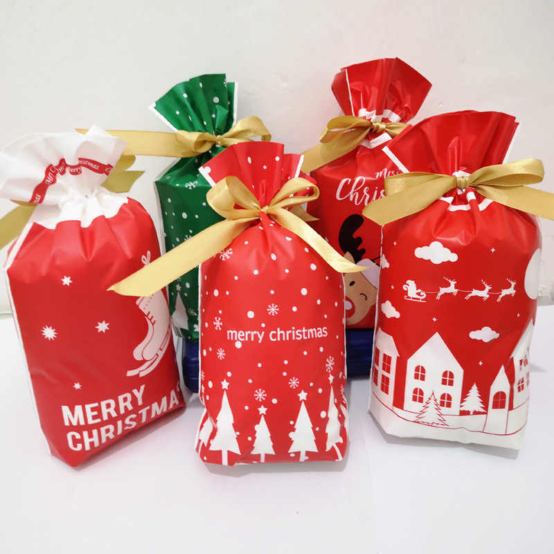 10Pcs 15*23cm Christmas Candy Cookies Packing Bag New Year Gift Bag Xmas Santa Claus Gift Biscuits Plastic Bags For Party Decor
